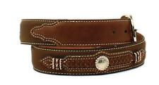 Nocona Western Mens Belt Leather Overlay Laced Ribbon Knot Concho Brown N2475944