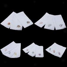 12x Women White Flower Embroidery Cotton Handkerchiefs Hanky Hankie Hand Towel