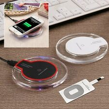 Qi Wireless Fast Charging Pad Charger Dock+Receiver for Apple iPhone 5/6/7/Plus