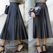 Vintage Women High Waist Skater Flared Pleated Swing Plain Long Skirt Lady Dress