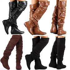 NEW Over the Knee Low Flat Heel Boot Sexy Thigh High Women Faux Suede & Leather