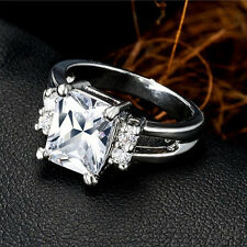 Women's Gold Plated Square Rhinestone Engagement Wedding Jewelry Ring Nimble