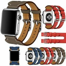 Replacement Double Buckle Cuff Leather Strap for Apple Watch 38/42mm Watch Band