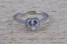 ring gold engagement white heart 14k diamond 1 ct wedding promise solid solitair