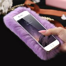 Luxury Bling Winter Soft Warm Rabbit Furry Fur Hair Back Case Cover for iPhone