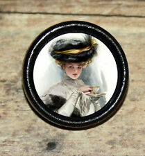 Fashion VICTORIAN TEA PARTY Altered Art Tie Tack or Ring or Brooch pin