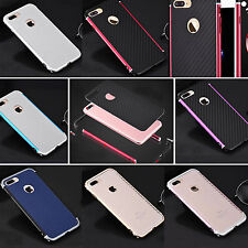 For Apple iPhone 7 Plus New Protective Metal Bumper+Carbon Fiber Back Case Cover