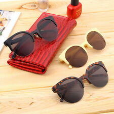Fashion Unisex Retro Round Circle Frame Semi-Rimless Sunglasses SZ