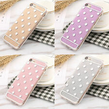 Cute Lovely Polka Dots Shiny TPU+PC Slim Back Case Skin Fr Apple iPhone 7/7 Plus
