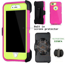 For Apple iPhone Case Cover Pink lime -(Belt Clip fits Otterbox Defender series)