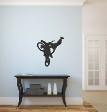 Motorcycle motocross stunt dirt bike vinyl wall silhouette sticker decal #20