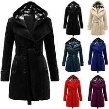 Fashion Womens Bodycon Warm Hooded Double-Breasted Wool Blends Long Coat Jackets