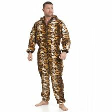 Mens All In One Gold And Brown Tiger Fleece Pyjama Onesie Size S-5XL