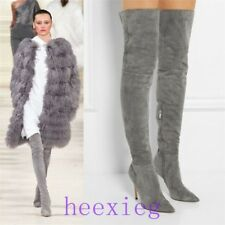 Women Pointy Toe Boots Stilettos Over Knee Thigh High Heel Suede Boots US 4-12 @