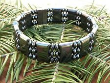 Mens 100% ALL Black Magnetic Hematite Bracelet Anklet SUPER STRONG Clasp 3 row