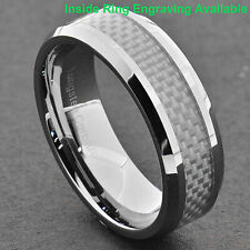 8mm Tungsten Band White Carbon Fiber Men's Wedding Ring High Polish Comfort fit