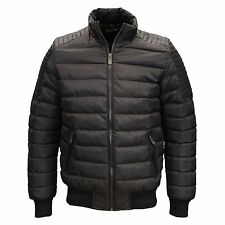Seven Series Mens Designer Branded PU Leather Detail Puffer Bomber Jacket, BNWT