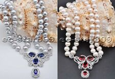 X0496 2Strds 12mm Gray White Round FW Pearl Necklace CZ butterfly 20inch