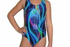 New girls gymnastic leotard metallic ribbon print