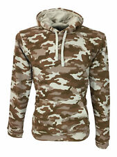 SALE £14 // King Kouture Mens Skinny Fit Camo Hooded Hoodie in Stone Camouflage