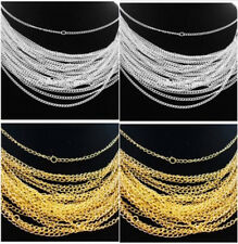 Wholesale 30/50/100/500/1000pcs Silver/Gold plated chain Necklace finding 48cm