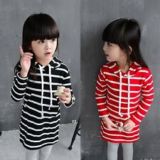 Toddler Baby Girl Striped Dress Long Sleeve Princess Hooded Dresses Kids Clothes