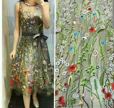 Advanced Multi Colors Flowers Tulle Embroidery Dress Lace Fabric 51''1 Yard Gown