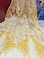 Luxury Floral Embroidery Peals Beaded Dress Lace Fabric 51''/ Yard Bridal Gowns