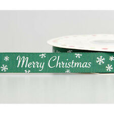 Merry Christmas Snowflake Green & White Grosgrain Ribbon 16mm Craft Wrapping
