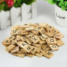 100 pcs Alphabet for Scrabble Tiles Black Letters&Numbers For Crafts Wood OL