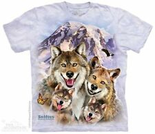 Wolf Selfie Kids T-Shirt by The Mountain. Mountain Snow Wolf Wolves Youth NEW
