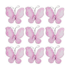 50pcs Wired Mesh Glitter Butterfly with Gem Craft Sewing DIY Wedding Card Decor