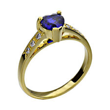 Gold-Plated-Silver Blue Heart Created-Sapphire Jewelry Women's Wedding Ring
