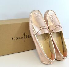 NIB Cole Haan Trillby Driver Womens Leather Slip On Loafer Shoes Rose Gold Metal