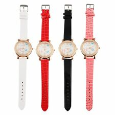 Women's Butterfly Crystal Round Quartz PU Leather Band Wrist Watch Gift NEW CC