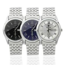Men's Stainless Steel Wrist Watch Luminous Hand Calendar Quartz Dress Watch JL