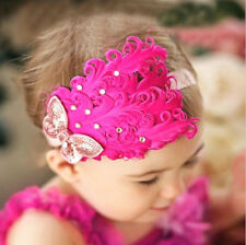 Baby Girl Infant Peacock Feather Headband Hairband Hairdress Hair Accessories VN