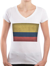 Women T-Shirt V-neck Colombia flag 100% Cotton Made in Germany