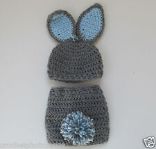 Bunny Hat & diaper cover-Gray & Blue Newborn to 2 yrs-Pom Pom tail handmade
