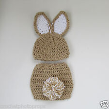 Easter Bunny Hat & diaper cover-Pom Pom -Tan & White Newborn to 2 yrs-handmade
