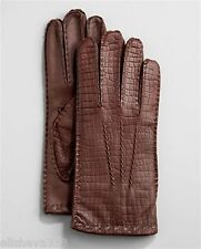 Neiman Marcus Brown Crocodile-Embossed Leather Gloves Mens Size: Large L New!