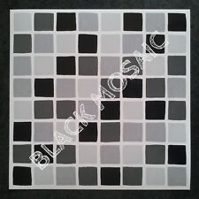 30 Self Adhesive Mosaic TILE TRANSFERS Stickers BATHROOM Kitchen BLACK MOSAIC