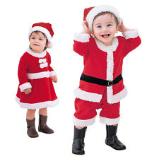 Christmas Baby Toddler Boys Girls Xmas Santa Claus Outfits Hat Clothes Costume