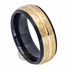 Men's 8mm 2 tone Black IP Tungsten Ring w/ Yellow Gold IP Hammered Center TS7150