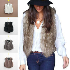 Womens Luxury Sleeveless Faux Fur Waistcoat Gilet Jacket Coat Outwear Short Vest