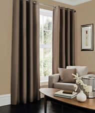 Faux Silk Curtains - Lined latte Eyelet Ring Top Curtains in Multiple Size