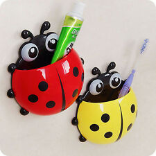 Fashion Blue Ladybug Sucker Toothbrush Holder Household Toothbrush Rack Bathroom