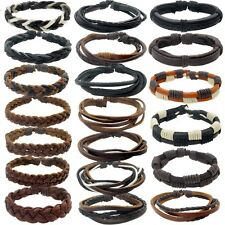 MENS REAL LEATHER SURF SURFER BRACELET WRISTBAND - Choose Your Style