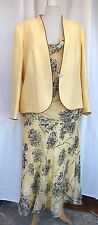 JACQUES VERT SILK DEVORE PRIMROSE & NAVY TOP NAVY CHIFFON SKIRT PRIMROSE JACKET