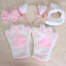 Girls Cute Cat Claw Gloves+Ear Hairclip+Tail+Bowtie Costume Cosplay Set